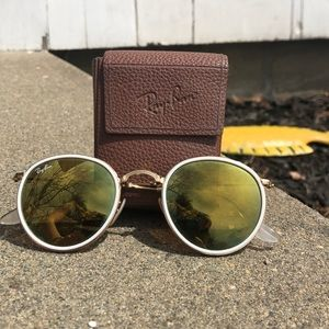 Ray Ban White/Gold Mirrored Folding Glasses